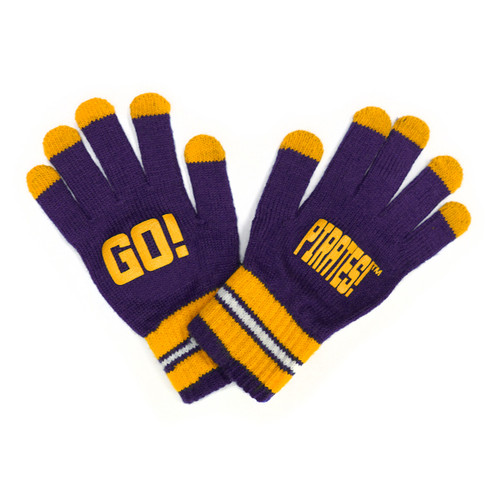 Youth Gloves Purple and Gold Go Pirates