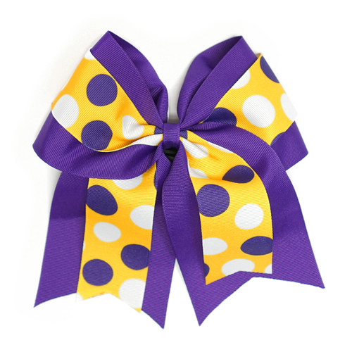 Purple and Gold Ribbon Bow Multi Dots