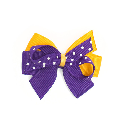 Small Purple and Gold Bow with White Dots