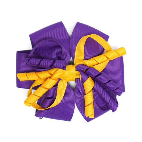 Purple and Gold Curly Ribbon Bow