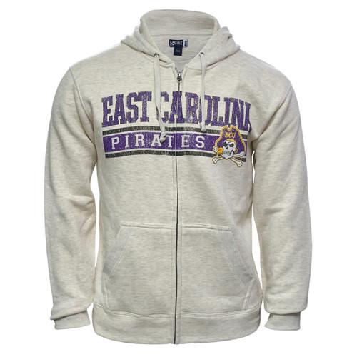 Oatmeal Full Zip Hoodie East Carolina Jolly Roger