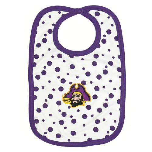 White Bib Purple Polka Dots