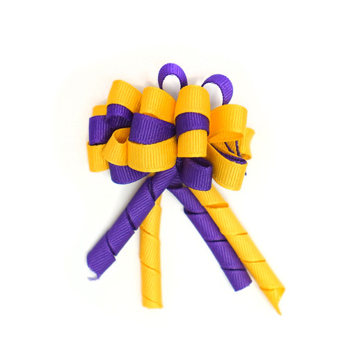 Mini Purple and Gold Bow Loops with Curly Tailsbow