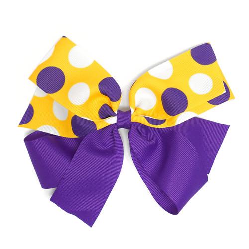 Purple Bow Multi Dots Gold Barrett