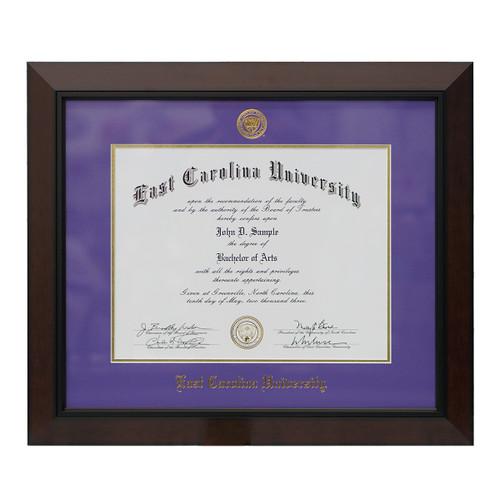 Legacy Black Cherry Purple Mat ECU Diploma Frame
