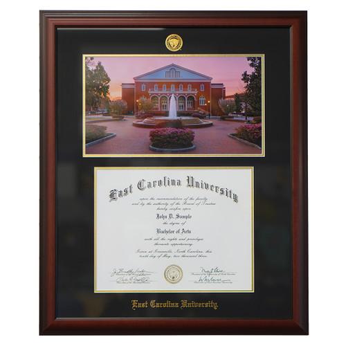 Satin Mahogany Sunset Print ECU Diploma Frame