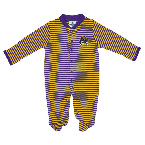 Infant Purple and Gold Striped Sleeper