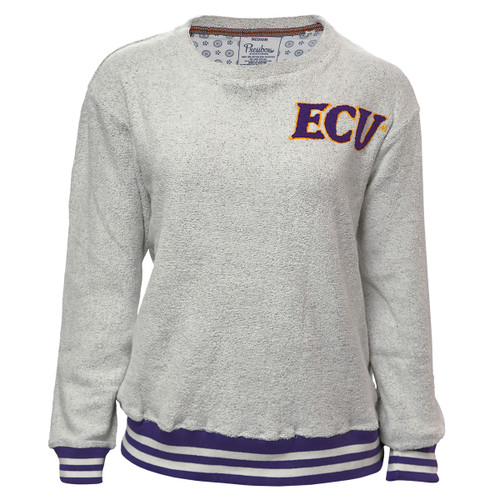 Ladies Grey Terry Crew Purple and White Trim