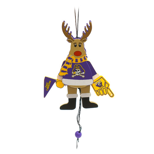 Cheering ECU Reindeer Ornament With Pull String