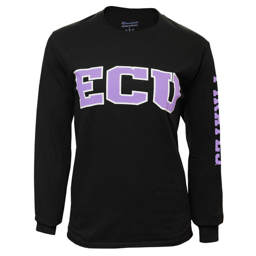 Black & Lavender ECU Pirates Long Sleeve Ladies Arch Tee