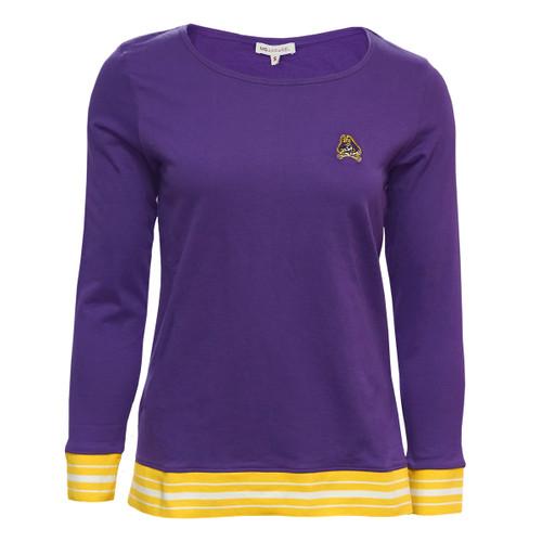 Ladies Purple Long Sleeve Gold Cuff Shirt