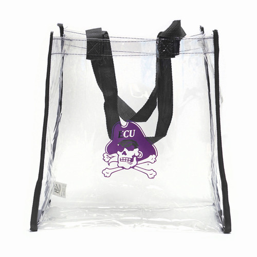 Clear Stadium Tote Black Trim Jolly Roger