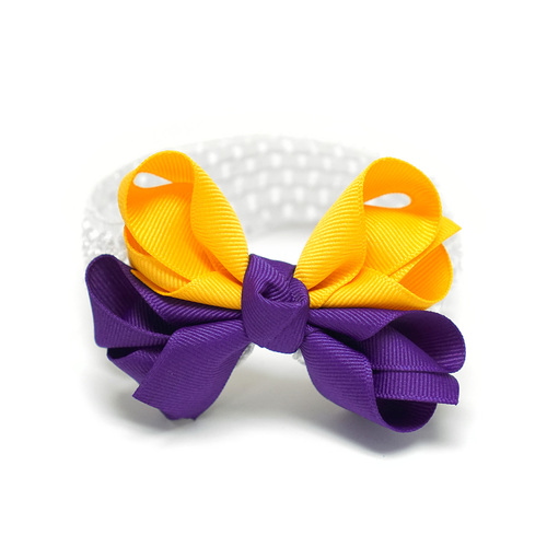 White Headband With Purple and Gold Bow