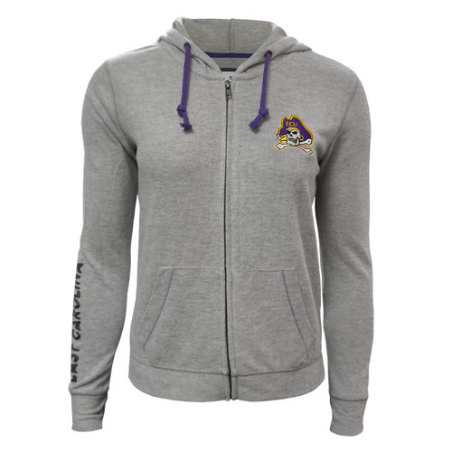 Ladies Grey Zip Up Hoodie Jolly Roger
