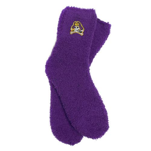 Purple Jolly Roger Fuzzy Socks