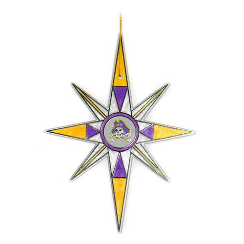 Stained Glass Jolly Roger Snowflake Ornament