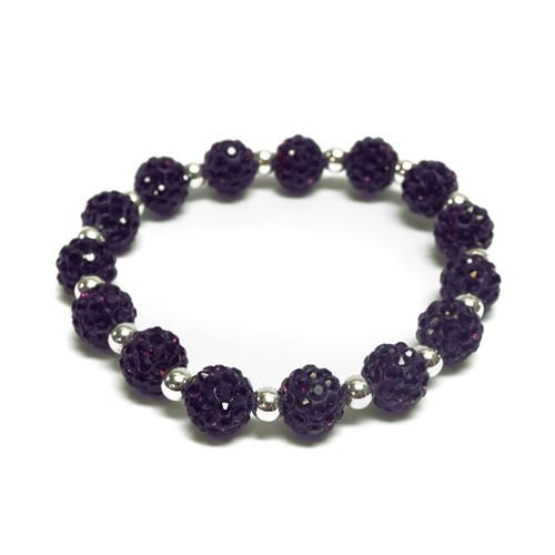 Purple Glitter Bead Bracelet