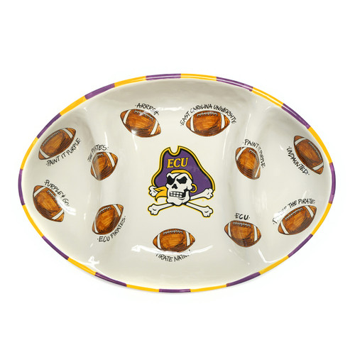 Three Zone ECU Football Serving Platter