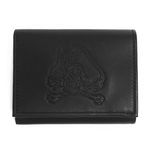Black Leather Jolly Roger Tri Fold Wallet