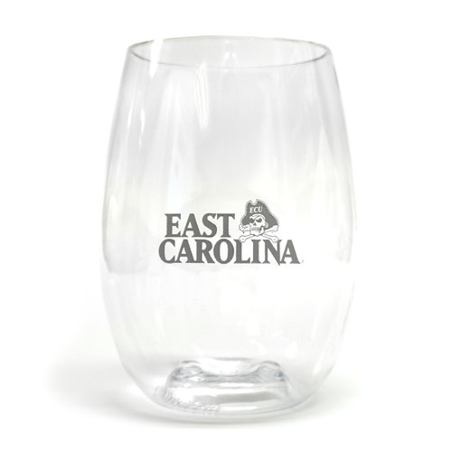 Stemless East Carolina Plastic Wine Glass
