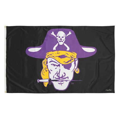 Black Vintage Vault Pirate Head Flag