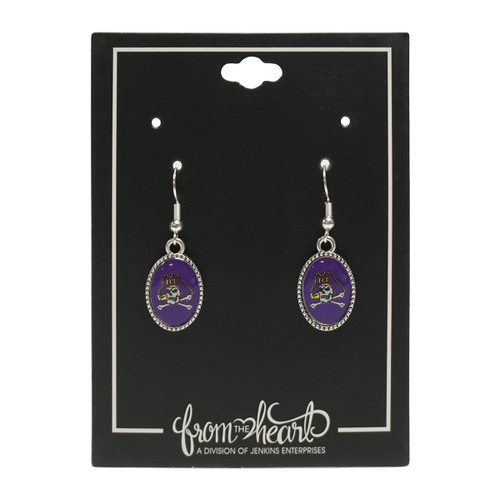 Purple Jolly Roger Oval Hanging Earrings
