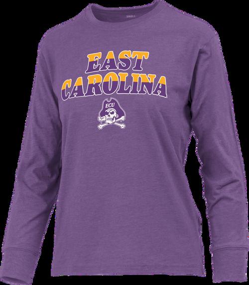 Purple Ladies Long Sleeve Split Color East Carolina Tee