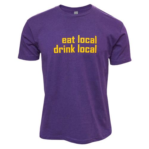 Purple Eat Local Drink Local Basil's Tee