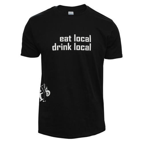 Black Eat Local Drink Local Basil's Tee