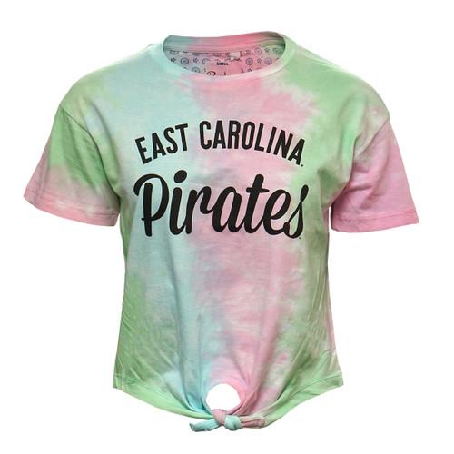 Tie Dye East Carolina Pirates Knot Crop Tee