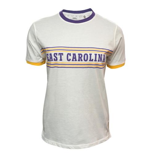 Natural White East Carolina Ringer Retro Tee