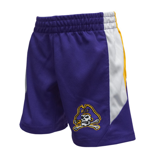 Purple Toddler Jolly Roger Shorts with Gold & White Accents