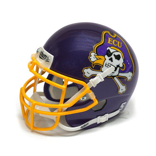 Purple Mini Jolly Roger Football Helmet with Gold Face Mask