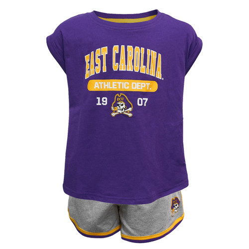 Purple Shorty Sleeve ECU Athletics 1907 Toddler Set