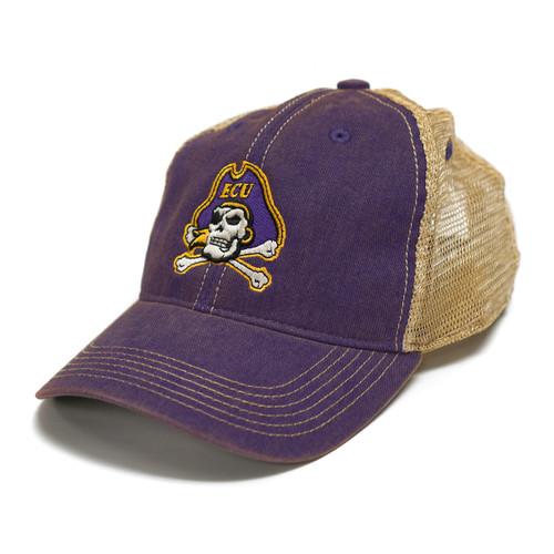Vintage Purple Jolly Roger Trucker Cap