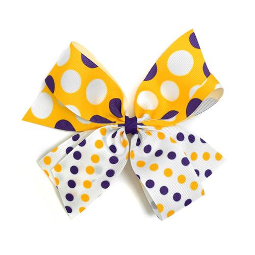 Purple, White, & Gold Hair Bow