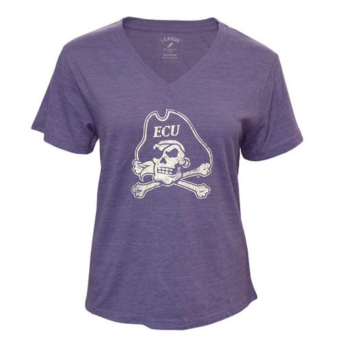 Heather Purple V-Neck Jolly Roger Ladies Tee