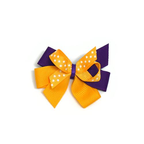 Purple & Gold Mini Bow with Polka Dots