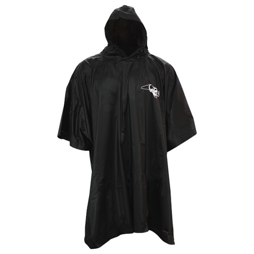 Black re-usable Pirate Nation Rain Poncho