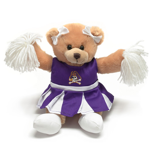 Tan Cheerleader Teddy Bear with Pom Poms