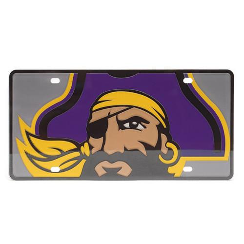 Mirrored Jumbo Pirate Head License Plate