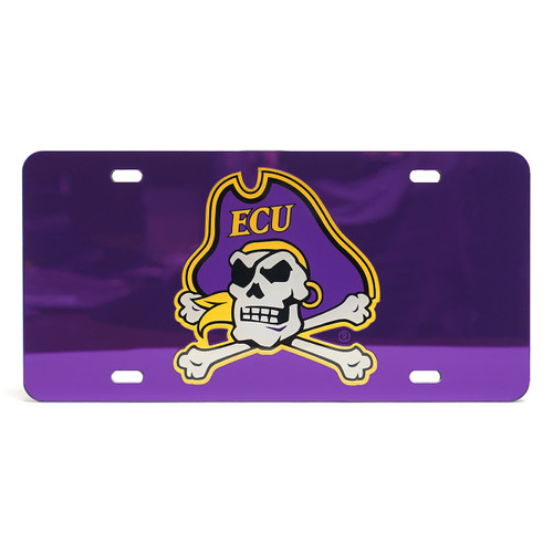 Purple Mirrored Jolly Roger License Plate