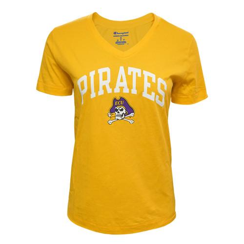 Gold Pirates Jolly Roger V-neck Ladies Tee