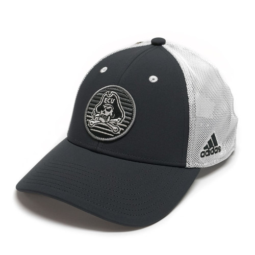 Greyscale Outrun Jolly Roger Patch Trucker Cap