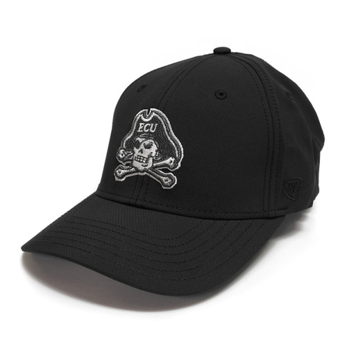 Black & Silver Jolly Roger Stretch Fit Cap