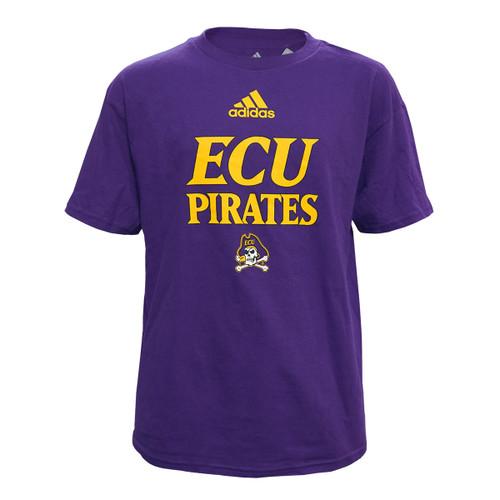 Purple Youth ECU Pirates Adidas Tee