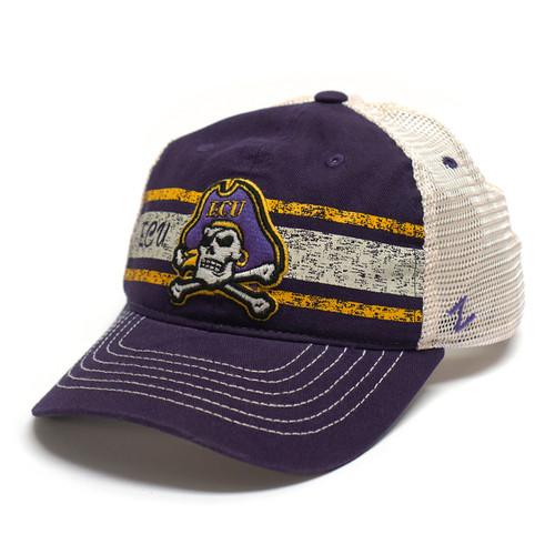 Purple Jolly Roger Distressed Bars Trucker Cap