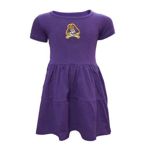 Purple Tiered Jolly Roger Toddler Dress