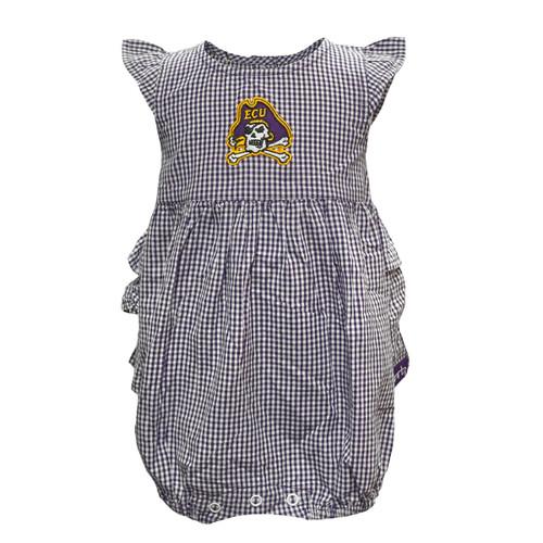 Purple & White Gingham Jolly Roger Infant Onesie Dress