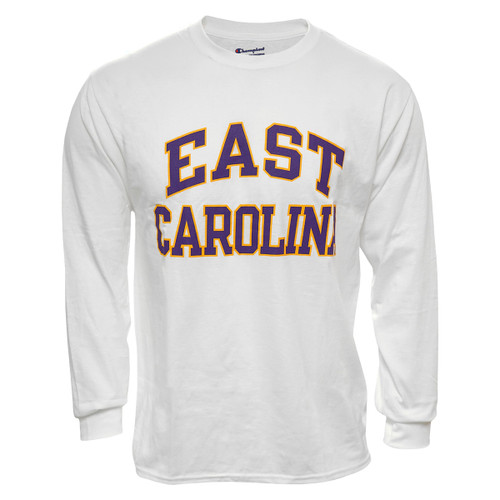 White Long Sleeve Purple & Gold East Carolina Arch Tee